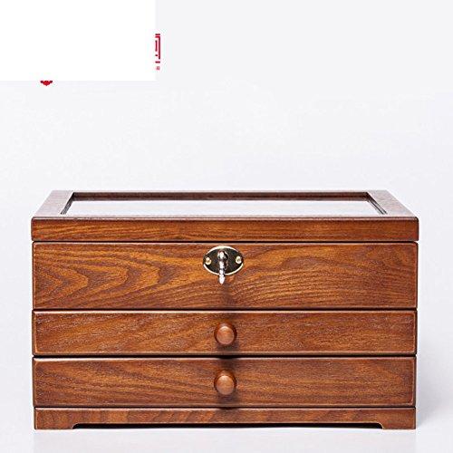 Tre scatola di gioielli di legno solido di qualità/ blocco contenitore di monili/ collana di gioielli organizzatore/europeo antico vintage grande box-a