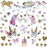 LABOTA 4 Pezzi Adesivi Murali di Unicorno, 152PCS Unicorno Sticker da Muro per ragazze Camerette Bambini Decorazione(colore B)