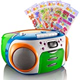 Enfants de radio stéréo CD MP3 lecteur cassette joueurs dans le jeu, y compris les autocollants puffy