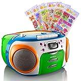 Stereo CD Radio Kinder MP3 Player Kassetten Spieler im Set Inklusive Puffy Sticker