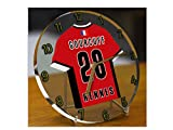 France Ligue 1 - Horloge de table avec T-shirt incorporé – Personnalisation gratuite: n'importe quel nom, numéro, équipe!! (Stade Rennais FC)...