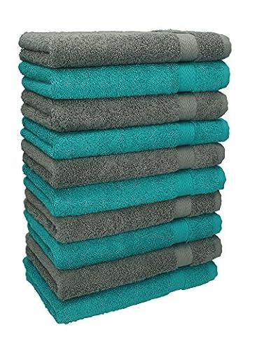Betz 10er Pack Gästehandtücher Set Gästetuch 100% Baumwolle Größe 30x50 cm Handtuch Premium Farbe Smaragd Grün & Anthrazit