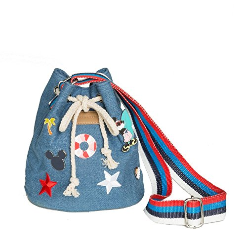 Mickey-mouse-taschen (Codello MICKEY MOUSE PINS BUCKET BAG Umhängetasche Marineblau)