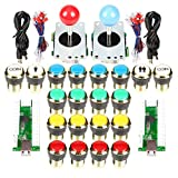 EG STARTS Arcade Kit Fai da Te Parti per PC Joystick 18x Placcatura in Oro LED Illuminato + 2 Giocatori Coin 30mm Gilded Lights Pulsanti per Arcade MAME & Arcade Cabinet & Raspberry Pi 2 3 3B
