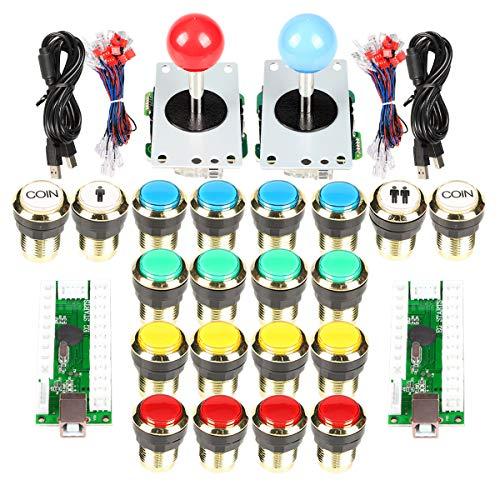 EG STARTS Klassische Arcade DIY Kits Teile 2x 5Pin 4 - 8 Weg Joystick 18x Vergoldung LED Leuchtdrucktaste 1 2 Spieler Münze 30mm vergoldete Lichter Tasten für Arcade MAME & Arcade Cabinet & Raspberry