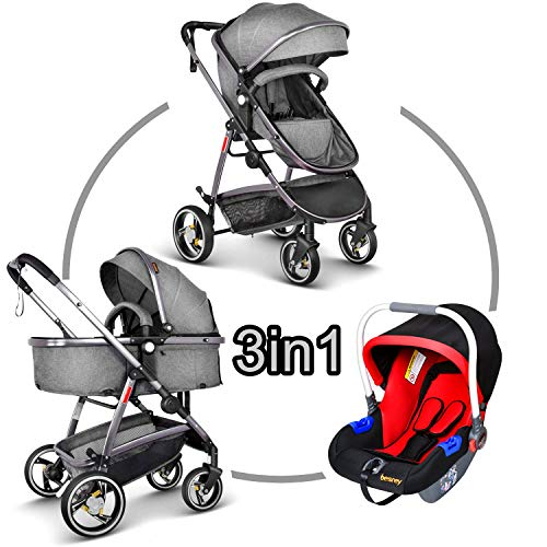 Besrey® 3 in 1 Kinderwagen Kombikinderwagen - Multi Kombi-Kinderwagen -Babywagen - Sportwagen mit grau Babyschale