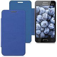 kwmobile Funda potectora práctica y chic FLIP COVER para Samsung Galaxy Core II Duos en azul