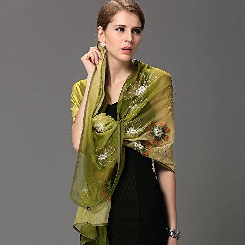 Foulards en soie femme automne et hiver foulard broderie extrait d'herbes extension chaud écharpe châle Grand ainsi que cadeaux idéaux , Poudre violet foulard Green