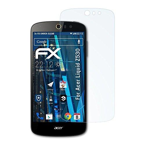atFolix Schutzfolie kompatibel mit Acer Liquid Z530 Panzerfolie, ultraklare & stoßdämpfende FX Folie (3X)