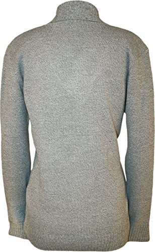 WearAll - Taille Plus Bouton col V à manches longues Pull Top - Pullover - Femmes - Tailles 42 à 48 Gris