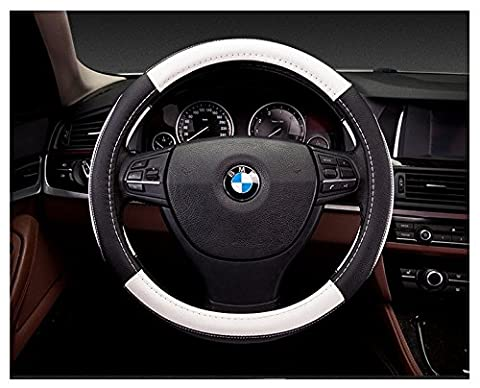 Anzer Leather Steering Wheel Cover,Universal 15 inch(38cm),Breathable Anti-slip Wheel Wrap