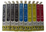 10 komp. XL Druckerpatronen für Epson Workforce WF-2010W WF-2510WF WF-2520NF WF-2530WF WF-2540WF WF-2630WF WF-2650DWF WF-2660DWF WF-2750DWF WF-2760DWF + Standard Black Ink. WF-2760DWF + XXL Black Ink