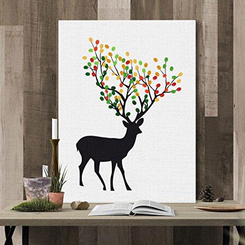 Leinwand Malerei Hochzeit Home Decor Dekoration Fingerabdruck Elch Malerei Unterschrift Gast Bücher Hochzeit Abschlussfeier Leinwand Malerei DIY (A)