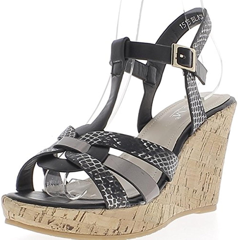 Sandalias de Cuña Negro y Cuero de 9cm Ven Bridas Finas de Tacón Serpiente -
