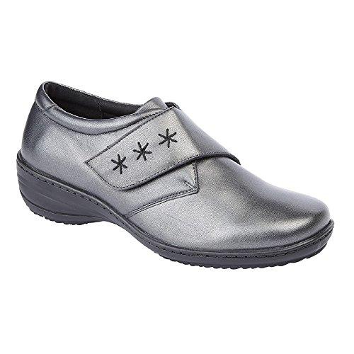 Mod Comfys Damen Memory Foam Leder Klettverschluss Schuhe (39 EU) (Zinn) (Zinn-leder-schuhe)