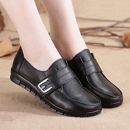 Yiiquan Femmes Velcro Mocassins En Cuir PU Casuel Confort Chaussures Plates Loafers Chaussures de Conduite Noir