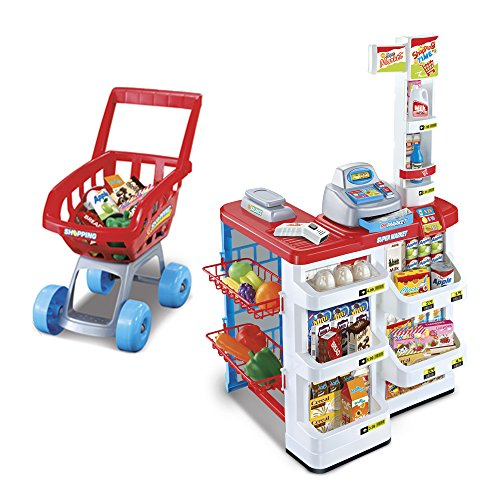 Children's Pretend Supermarket & Trolley Set, 24 Piece Role Play Kids Kitchen Food Stall with Functioning Till, Light Up Scanner, Play Money & Weighing Scales