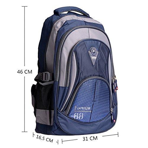 Leefrei Schulrucksack Schulranzen Schultasche Sports Rucksack Freizeitrucksack Daypacks Backpack für Mädchen Jungen & Kinder Damen Herren Jugendliche mit der Großen Kapazität (Vintag-Blau2) - 5