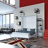 SMARTBett Cama plegable 160 x 200 cm vertical color Blanco resortes de gas cama plegable & cama de pared sin colchón