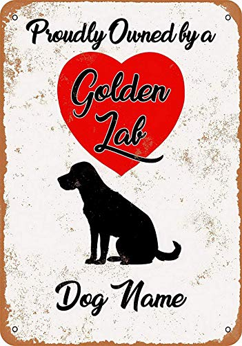 Shimeier Dog Name Golden Lab Retriever Retro Vintage Tin Sign Coffee House Business Dining Room Pub Beer 20 cm x 30 cm -
