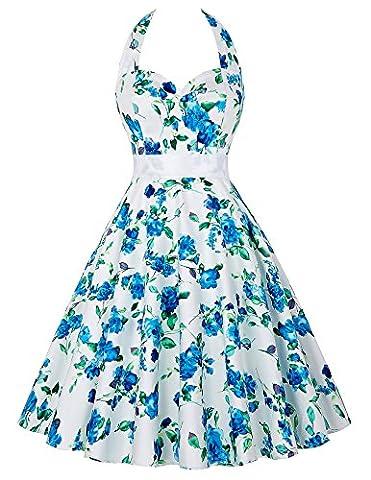 Robe de Cocktail Vintage Dos Nu Robe à Fleurs Bleues Taille L YF6075-3