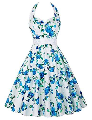 partykleider cocktailkleider knielang blau blumendruck 50er jahre rockabilly kleid S CL6075-3