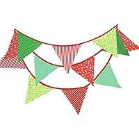 TrifyCore Doppelseitige Wimpelkette mit Motiv Hochzeit im Partido Rot Grün Vintage Garland Dekoration 12 Feet