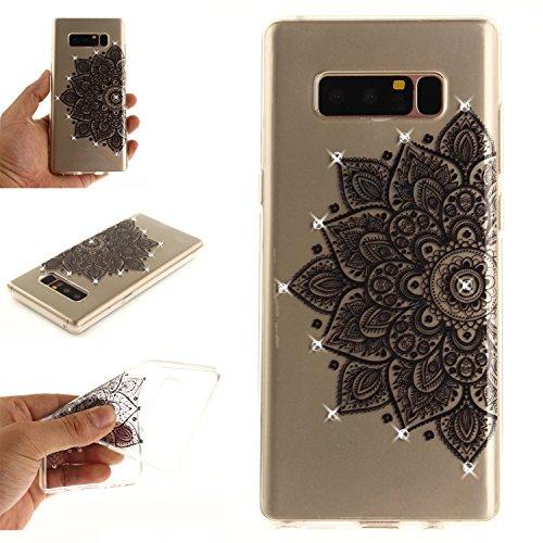 Ooboom® Coque pour iPhone X Housse Transparent TPU Silicone Gel Étui Cover Case Souple Ultra Mince avec Bling Glitter - Pissenlit Noir Fleur