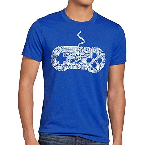 style3 Gamer T-Shirt Herren super konsole kart NES SNES zelda mario sonic wii, Größe:M;Farbe:Blau