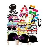 Vi.yo 58pcs Divertido Photo Booth Props Bigote Eye Glasses Red Lips Lazos Máscara para la Boda de la decoración del Partido de Halloween de la Navidad