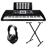 Axus Digital AXP25PK 61 Key Touch Sensitive Portable Keyboard Package with Keyboard Stand, Headphone and Power Supply