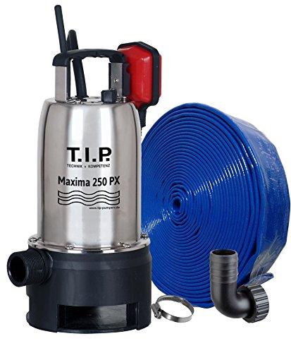T.I.P. 30266 Schmutzwasser Tauchpumpe Edelstahl Maxima 250 PX mit 10 m Ablaufschlauch Ø 32 mm, bis 14.500 l/h Fördermenge