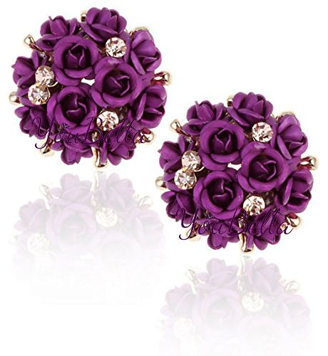 YouBella Purple Gold-Plated Rose Stud Earrings For Women