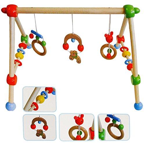 """Gymnastikcenter - """" bunte Tiere """" - aus Holz - Spielbogen / Babyreck - mit Trapez Spielcenter - frei stehend & tragbar - für Kinder Baby - Motorikspielzeug - Babyspielzeug bewegen - Greifgerät - Spielzeug Aktivcenter - Holzspielzeug Babys - Jungen & Mädchen"""
