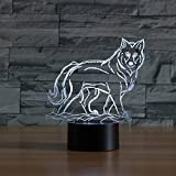 3D Illusion Lampen Wolf 7 Farben Led Nachtlicht Touch-Schalter Schlafzimmer Schreibtisch Beleuchtung für Kinder Geschenke Haus Dekoration