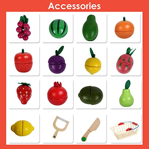 Buyger Wooden Magnetic Cutting Fruit Basket Toy Pretend Role Play Food Kitchen Educational Toys for Kids Children