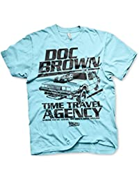 Officiellement Sous Licence Doc Brown Time Travel Agency Hommes T-Shirt (Bleu clair)