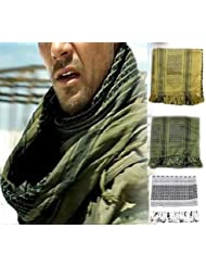 100% Cotton Premium Arab Shemagh Tactical Desert Scarf for Men or Women Olive Green by Unknown