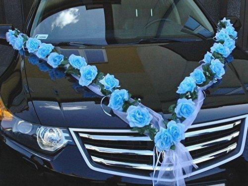 ROSEN GIRLANDE Auto Schmuck Braut Paar Rose Deko Dekoration Autoschmuck Hochzeit Car Auto Wedding Deko (Blau / Weiß)