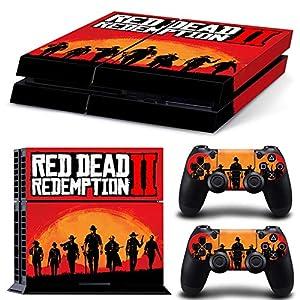 RemyCoo PlayStation 4 Beliebte Red Dead Redemption 2 Vinyl Decal Haut Aufkleber für PS4 Konsole + 2 PCS Haut für PS4 Controller – Gelb 2