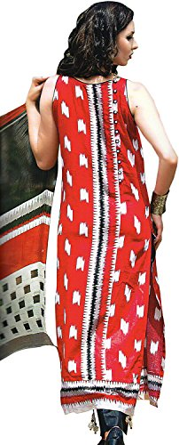 Exotic India Parallel Salwar Suit with Ikat Print and Embroidered Patch on...