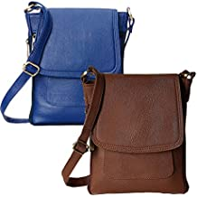 Flora Premium PU Leather Women's And Girl's Cross Body Sling Bag Combo Of 2 (Dark Brown / Blue Color)