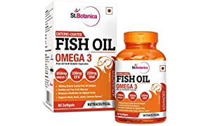 StBotanica Fish Oil Omega 3 Advanced 1000mg (Double Strength) 650mg Omega 3 - 60 Enteric Coated Softgels