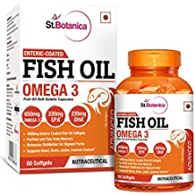 StBotanica Fish Oil Omega 3 Advanced 1000mg (Double Strength) 650mg Omega 3 - 60 Enteric Coated Softgels