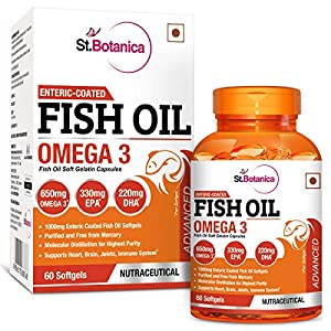 St.Botanica Fish Oil 1000 mg (Double Strength) with 600 mg Omega 3-60 Softgels – 3 Bottles