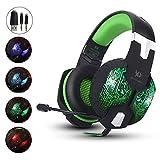 aizbo 3,5 mm Stereo Gaming Headset LED Over-Ear Kopfhörer USB-Headset mit Mikrofon für PC Computer Laptop grün grün