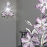 MIA Light Wandleuchte mit Blumen aus Acrylkristallen lila in chrom mit Zugschalter