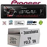 VW Polo 9N - Autoradio Radio Pioneer MVH-S100UI - | MP3 | USB | Android | iPhone Einbauzubehör - Einbauset