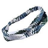 Weryffe Dame Élégante Bandeau Charme Exquis Feuille Imprimée Motif Tête Wraps Criss Cross Noué Bande De Cheveux à Larges Bords (Vert)