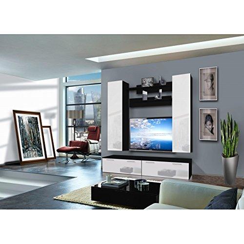 AC-Déco Ensemble Meuble TV Murale - Ledge III - 2 vitrines - Noir et Blanc